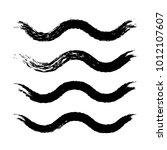 grunge waves brush strokes. set ... | Shutterstock .eps vector #1012107607