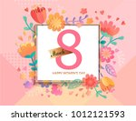 card for happy women's day in... | Shutterstock .eps vector #1012121593