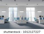 wooden shelves in a white... | Shutterstock . vector #1012127227