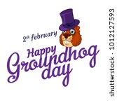cartoon old groundhog in hat...   Shutterstock .eps vector #1012127593