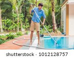cleaner of the swimming pool .... | Shutterstock . vector #1012128757