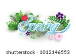 flowers and plants with paper... | Shutterstock .eps vector #1012146553