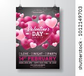 vector valentines day party... | Shutterstock .eps vector #1012149703