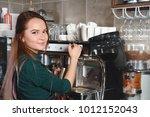 closeup picture of barista...   Shutterstock . vector #1012152043