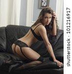 a young brunette woman posing... | Shutterstock . vector #101216917