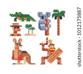 pixel art 80s style icons.... | Shutterstock .eps vector #1012175887