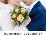 bridal bouquet. winter wedding...   Shutterstock . vector #1012180417
