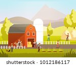 cartoon farm with farmers  farm ... | Shutterstock .eps vector #1012186117