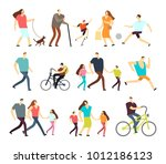 men and women walking outdoor.... | Shutterstock .eps vector #1012186123