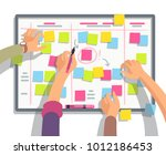 developers team planning weekly ... | Shutterstock .eps vector #1012186453