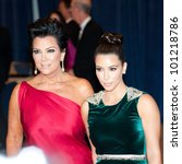 WASHINGTON � APRIL 28: Kim Kardashian and Kris Jenner arrive at the White House Correspondents� Dinner April 28, 2012 in Washington, D.C. - stock photo