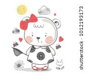 bear. hand drawn vector... | Shutterstock .eps vector #1012193173