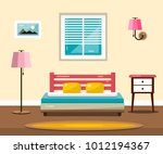 room with bed. vector flat... | Shutterstock .eps vector #1012194367