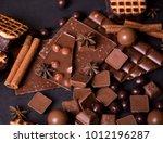 broken chokolate bars and... | Shutterstock . vector #1012196287