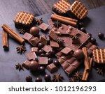 broken chokolate bars and... | Shutterstock . vector #1012196293