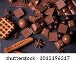 broken chokolate bars and... | Shutterstock . vector #1012196317