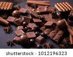 broken chokolate bars and... | Shutterstock . vector #1012196323