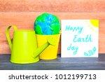 colorful plasticine globe in a...   Shutterstock . vector #1012199713