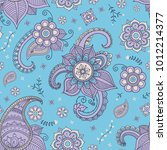 blue paisley and flowers vector ... | Shutterstock .eps vector #1012214377