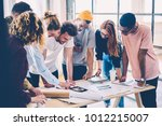 young crew of male and female... | Shutterstock . vector #1012215007