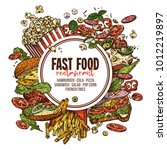 vector hand drawn fast food... | Shutterstock .eps vector #1012219897