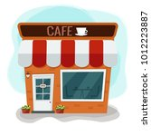 city cafe. coffee shop. flat... | Shutterstock .eps vector #1012223887