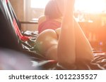 sexy woman in panties is lying... | Shutterstock . vector #1012235527