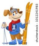 funny dog skier. cartoon styled ... | Shutterstock .eps vector #1012241983
