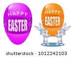 happy easter. funny rabbits... | Shutterstock .eps vector #1012242103
