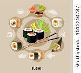 flat sushi composition with... | Shutterstock .eps vector #1012250737