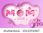 mother's day origami paper art... | Shutterstock .eps vector #1012251067