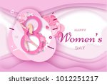 womens day origami paper art... | Shutterstock .eps vector #1012251217