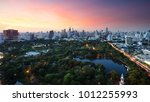 lumpini park  the lungs of... | Shutterstock . vector #1012255993