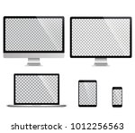realistic set of monitor ... | Shutterstock .eps vector #1012256563