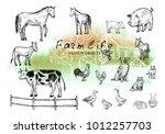 vector illustration. pen style... | Shutterstock .eps vector #1012257703