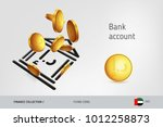 bank icon with flying united... | Shutterstock .eps vector #1012258873
