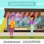 girl in virtual reality headset ... | Shutterstock .eps vector #1012259533