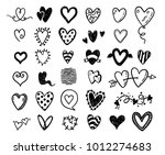 funny doodle hearts icons... | Shutterstock .eps vector #1012274683