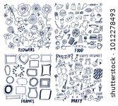 food frames flowers party set... | Shutterstock .eps vector #1012278493