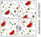 trendy memphis style watermelon ... | Shutterstock .eps vector #1012279207