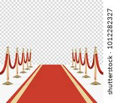 red carpet with red ropes on... | Shutterstock .eps vector #1012282327
