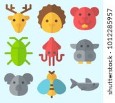 icons set about animals with... | Shutterstock .eps vector #1012285957