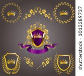 set of golden royal shields... | Shutterstock .eps vector #1012289737