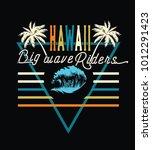 hawii.big wave riders.80's... | Shutterstock .eps vector #1012291423