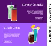 classic drinks summer cocktails ... | Shutterstock .eps vector #1012300543
