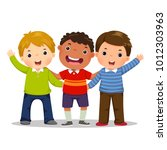 group of three happy boys... | Shutterstock .eps vector #1012303963