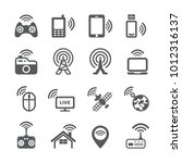 wireless technology icon set | Shutterstock .eps vector #1012316137