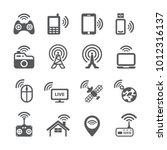 wireless technology icon set   Shutterstock .eps vector #1012316137