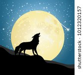 design silhouette of wolf at... | Shutterstock .eps vector #1012320157