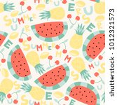 summer seamless pattern with... | Shutterstock .eps vector #1012321573